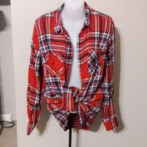 Womens sz L Merona thin flannel plaid shirt